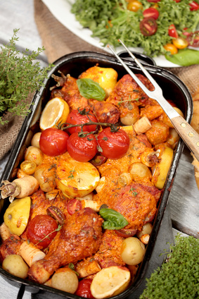 Hühnerschenkel mit Gemüse