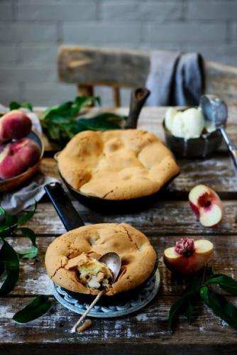 Grießsouffle mit Pfirsichen