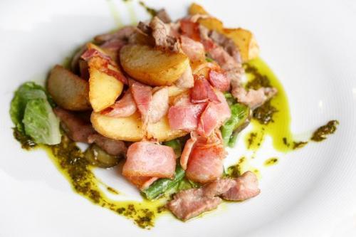 Kartoffel Schinken Bohnen Gröstl