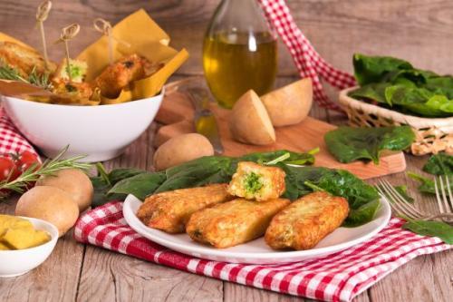 Kartoffelkroketten mit Spinat gefüllt