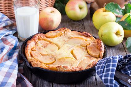 Quark Apfelpfannkuchen im Ofen gebacken