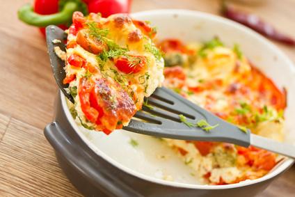Rührei mit Tomaten und Käse