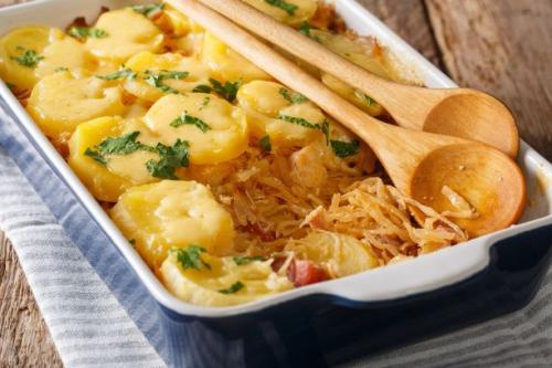 Sauerkrautauflauf mit Kartoffeln